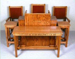 #400 Pulpit With Adjustable Bible Rest And Shelf On Back 48u2033 X 48u2033 X 19u2033  #405 Communion Table With Inscription 54u2033 X 22u2033 X 33u2033H