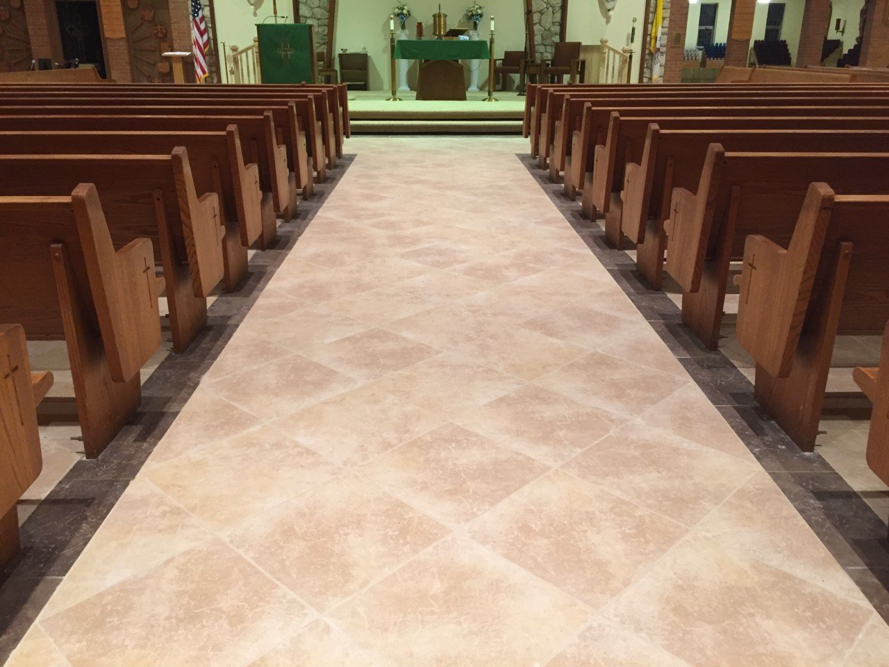 Church tile marble floors artech church interiors necessary for a successful church floor installation and we are able to not only install a new porcelain tile floor but move and re install the pews dailygadgetfo Gallery