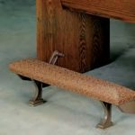 church pew kneeler with metal foot