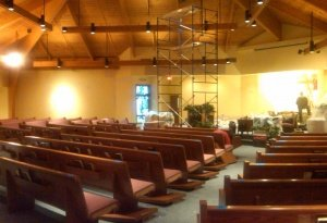 during - lighting and pew refurbishment2