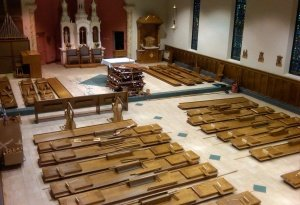 during pew installation
