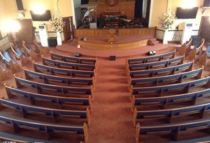 new pews & carpet from balcony, pentecostal tabernacle