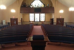 new pews & carpet from center aisle, pentecostal tabernacle