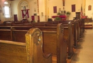 refinished pews close up 2