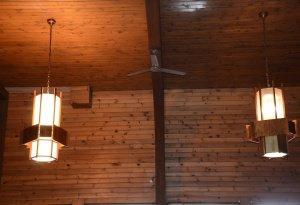 refurbished lantern vs old lantern, trinity lutheran - hanging lit, milford ct