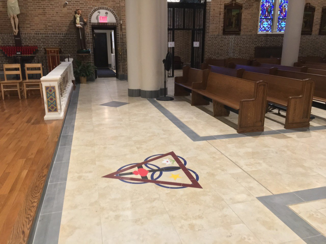 Church tile marble floors artech church interiors for churches with cost or weight issues floor cannot support the weight of stone we also offer a premium vinyl tile that looks like stone dailygadgetfo Image collections
