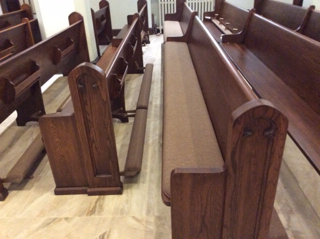 Finished Pews, New Cushions & Kneelers